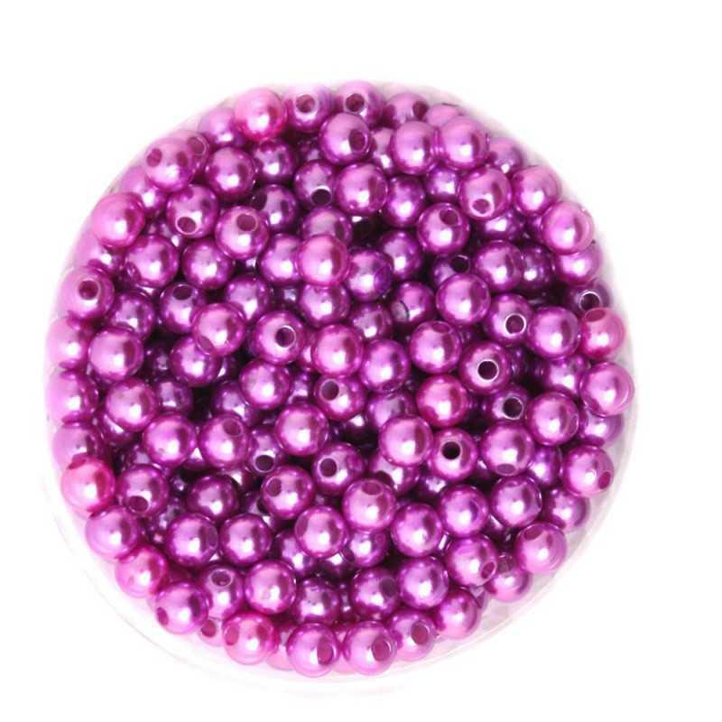 50 Perles 6mm Imitation Brillant Couleur Violet