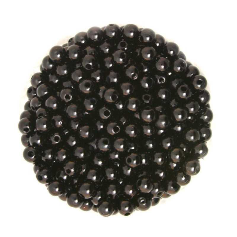 50 Perles 6mm Imitation Brillant Couleur Noir