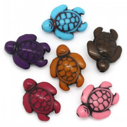 10 Perles Tortue Acrylique 18mm x 15mm Tortues Souriante MC0400001