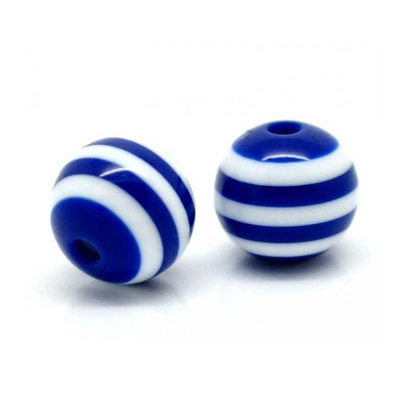 10 Perles 10mm Rayé Bleu Marine et Blanc en resine