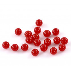 Lot de 20 Perles Rouge Brillant en Acrylique 8mm