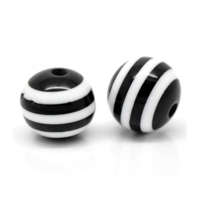 10 Perles 10mm Rayé Noir et Blanc en resine