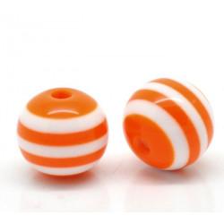 10 Perles 10mm Rayé Orange et Blanc en resine MC0110009
