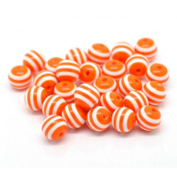 10 Perles 10mm Rayé Orange et Blanc en resine MC0110009