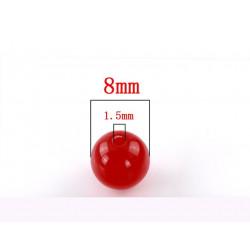 Lot de 20 Perles Rouge en Acrylique 8mm