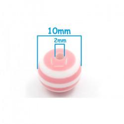 10 Perles 10mm Rayé Rose et Blanc en resine MC0110010