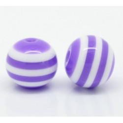 10 Perles 10mm Rayé Violet et Blanc en resine MC0110011