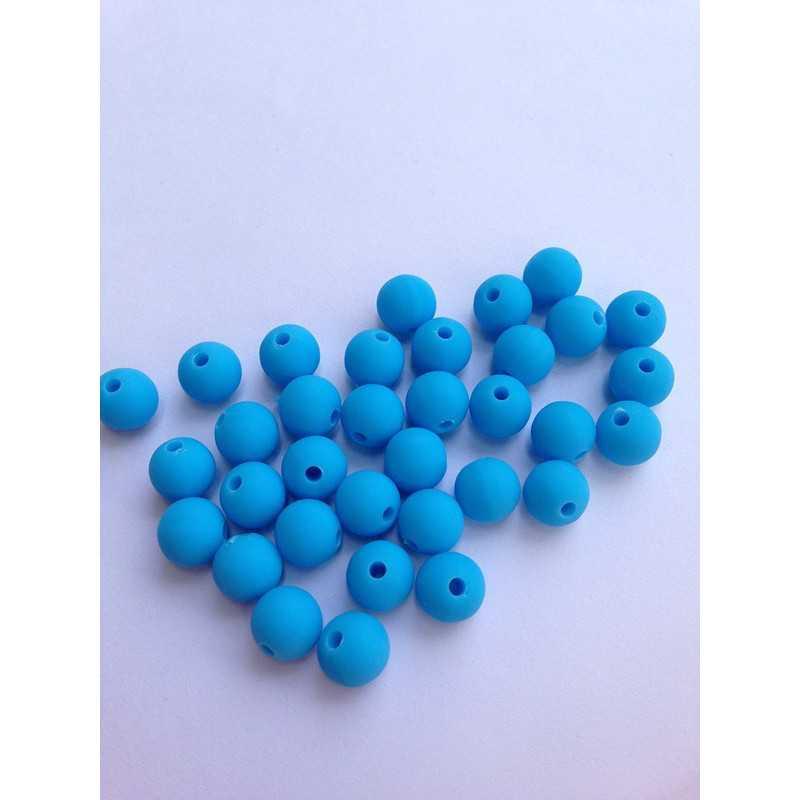 10 Perle 10mm Silicone Couleur Bleu