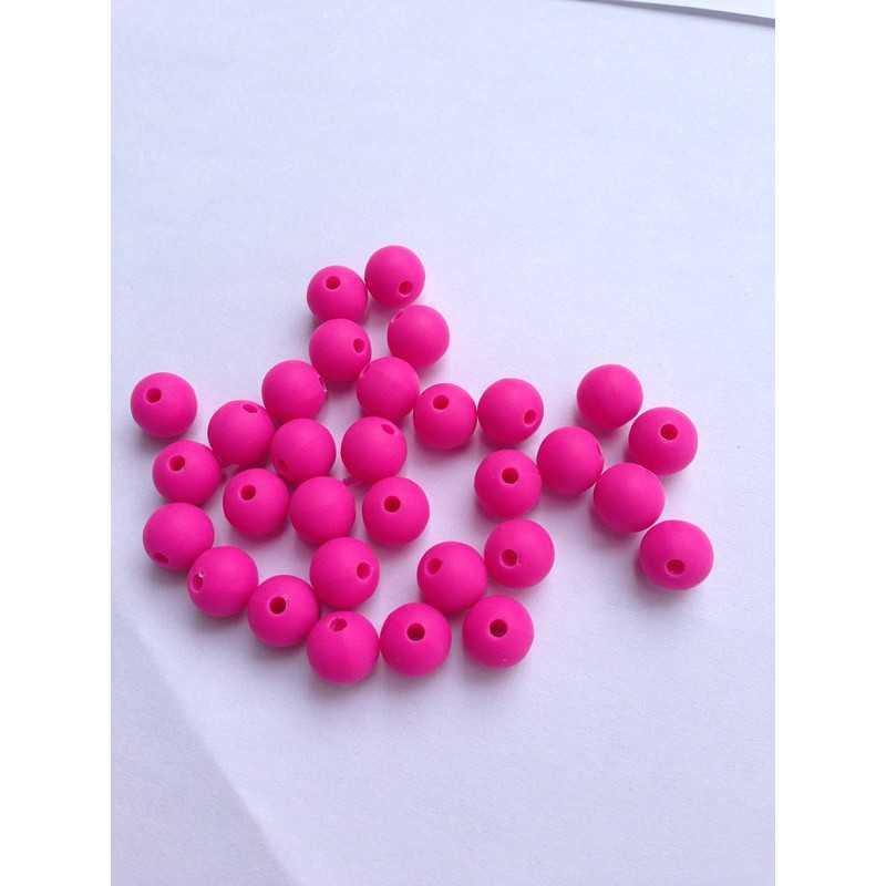 10 Perle 10mm Silicone Couleur Fuchsia