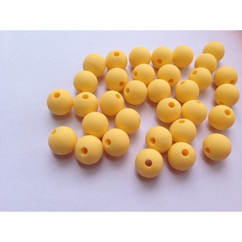 10 Perle 10mm Silicone Couleur Jaune