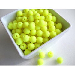 10 Perle 10mm Silicone Couleur Jaune Fluo MC0110019