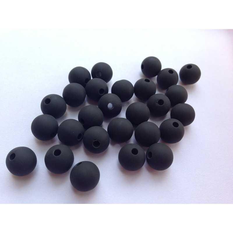 10 Perle 10mm Silicone Couleur Noir