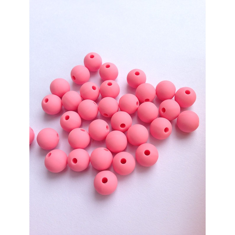 10 Perle 10mm Silicone Couleur Rose