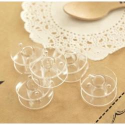 5 Bobines Canettes Transparent en Plastique Pour Fil de Machine à Coudre MC0400002