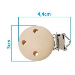 Clip Pince Attache Tetine en Bois Beige 3cm MC2030503