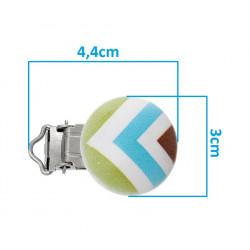 Clip Pince Attache Tetine en Bois Rond Multicouleur Rayé 3cm MC2030523