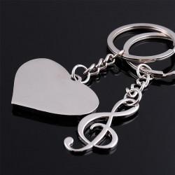 Porte Cle Couple Coeur Note de Musique 2 Porte Clef