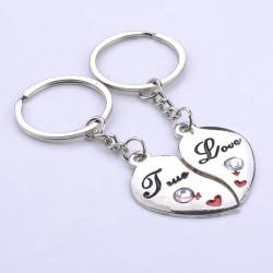 Porte Cle Couple Coeur (2 demi coeur) True love