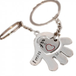 "Porte Cle Couple Coeur et Main "" I Miss You "" 2 Porte Clef"