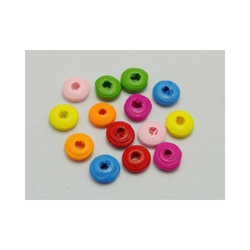 30 Perles Intercalaires Rondelle Mixte en Bois 10mm x 4mm