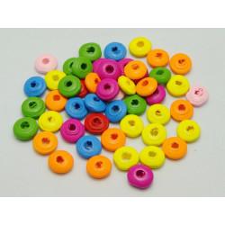 30 Perles Intercalaires Rondelle Mixte en Bois 10mm x 4mm MC0110070