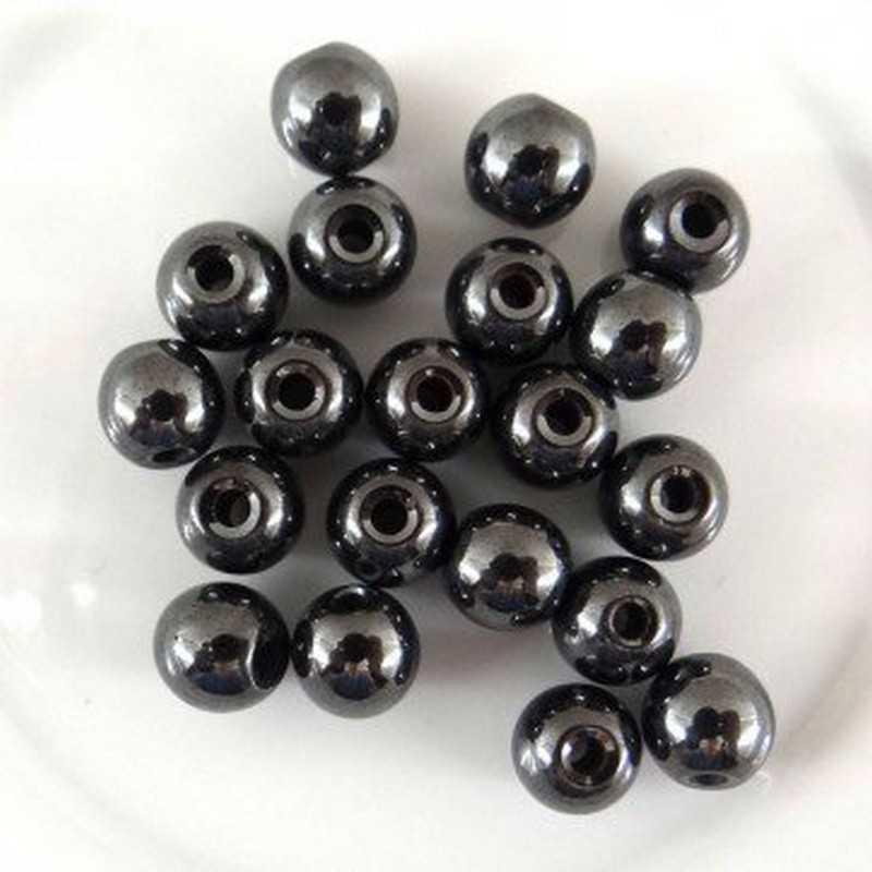 20 Perle Noir 6mm Hematite Non-Magnetique