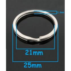 Lot Anneaux Porte clé Argente 25mm Doublé MC0625001