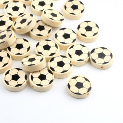 5 Perles Ronde en Bois 20mm Couleur Nature Ballon de Football MC0720001