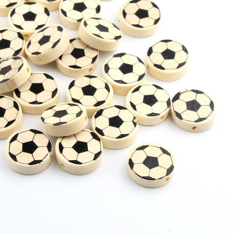 5 Perles Ronde en Bois 20mm Couleur Nature Ballon de Football
