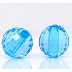 Lot de 10 Perles Bleu Transparent en Acrylique Facette Brillant 8mm