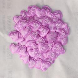 """10 Applique Petale Coeur Satin Violet """"I Love You"""" 35mm MC0500004"""