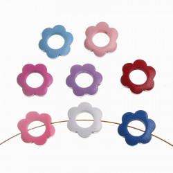5 Perle en Bois 30mm Fleur Mixte MC0700004
