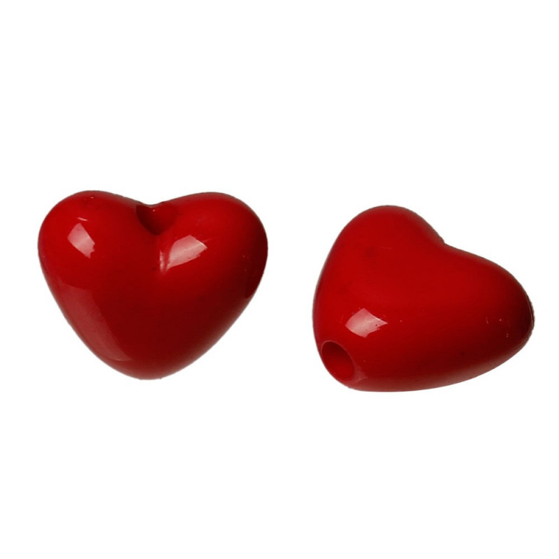 10 Perle Coeur Rouge 11mm Perle en Acrylique