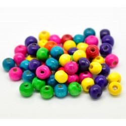 Lot de 40 perles brillant en bois 8mm mixte