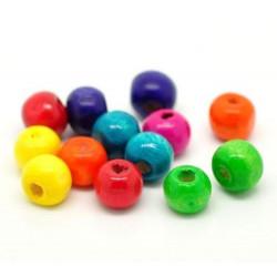 40 Perles en Bois Brillant 8mm Couleur Mixte MC0108270