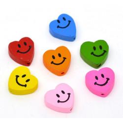 5 ou 10 Perles en Bois Coeur Smile 16mm x 18mm MC0700010