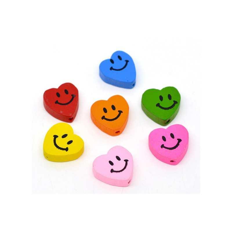 5 ou 10 Perles en Bois Coeur Smile 16mm x 18mm