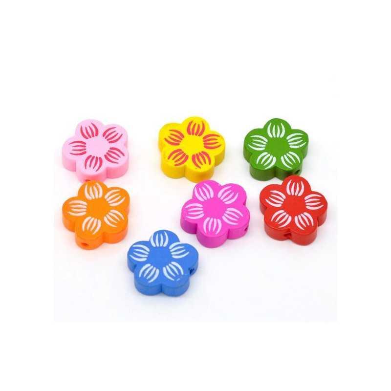 5 ou 10 Perles en Bois Fleur Mixte 20mm
