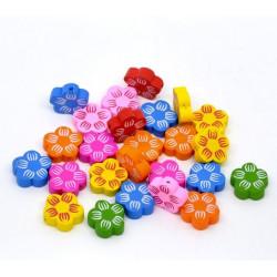 5 ou 10 Perles en Bois Fleur Mixte 20mm MC0700015