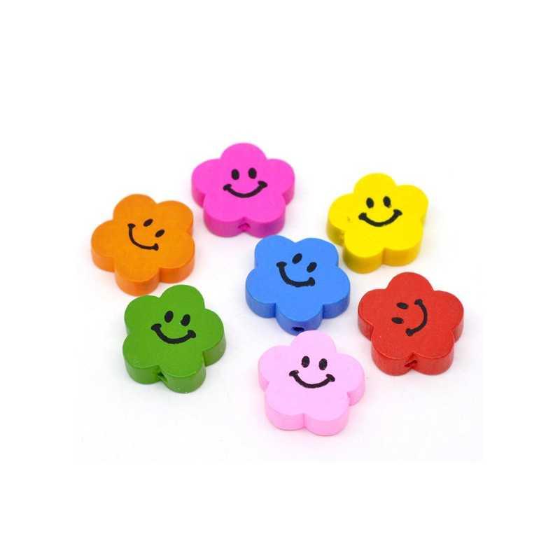 5 ou 10 Perles en Bois Fleur Smile Mixte 20mm