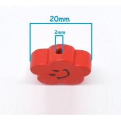 5 ou 10 Perles en Bois Fleur Smile Mixte 20mm MC0700016