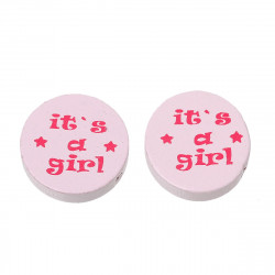 "5 ou 10 Perles  en Bois Rose Rond ""it's a girl"" 20mm MC0700018"