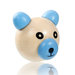 Perle 3D Ourson Bleu 25mm Tete Ours MC0700101