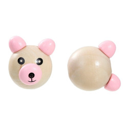 Perle 3D Ourson Rose 25mm Tete Ours MC0700104