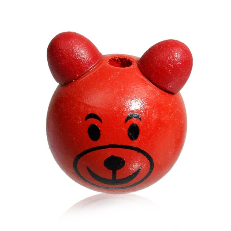 Perle 3D Ours Rouge 25mm Tete Ourson