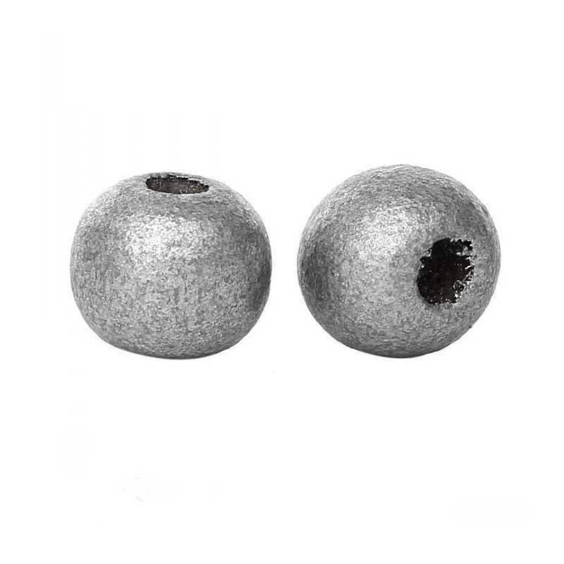 20 perles en bois argenté 10mm