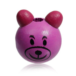 Perle 3D Ours Violet 25mm Tete Ourson MC0700115