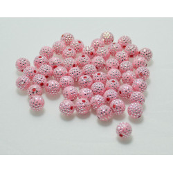 20 Perles En Acrylique 8mm Rose Points Argenté MC0108067