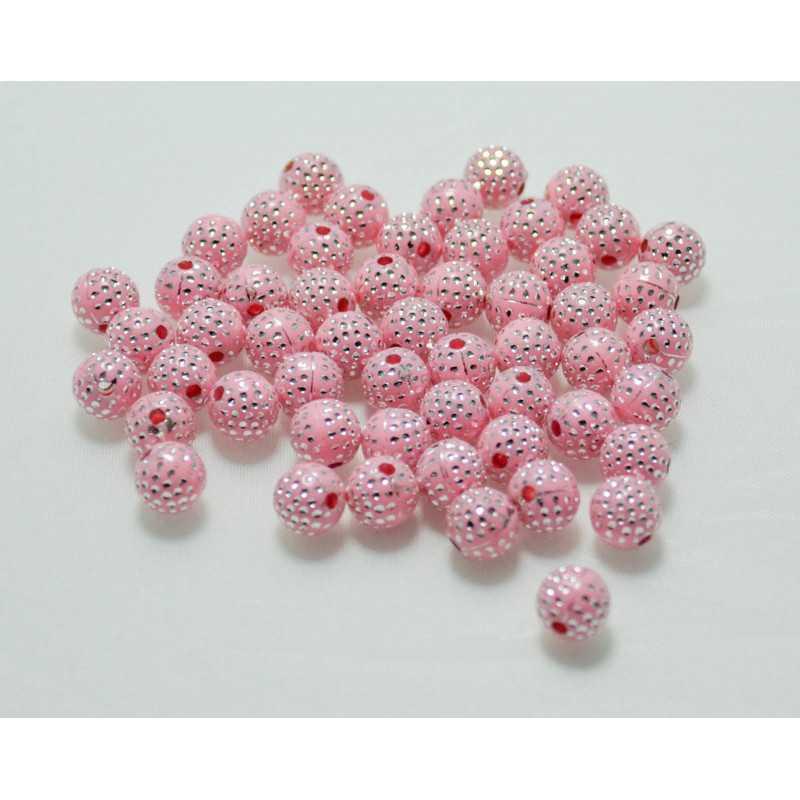 20 Perles En Acrylique 8mm Rose Points Argenté