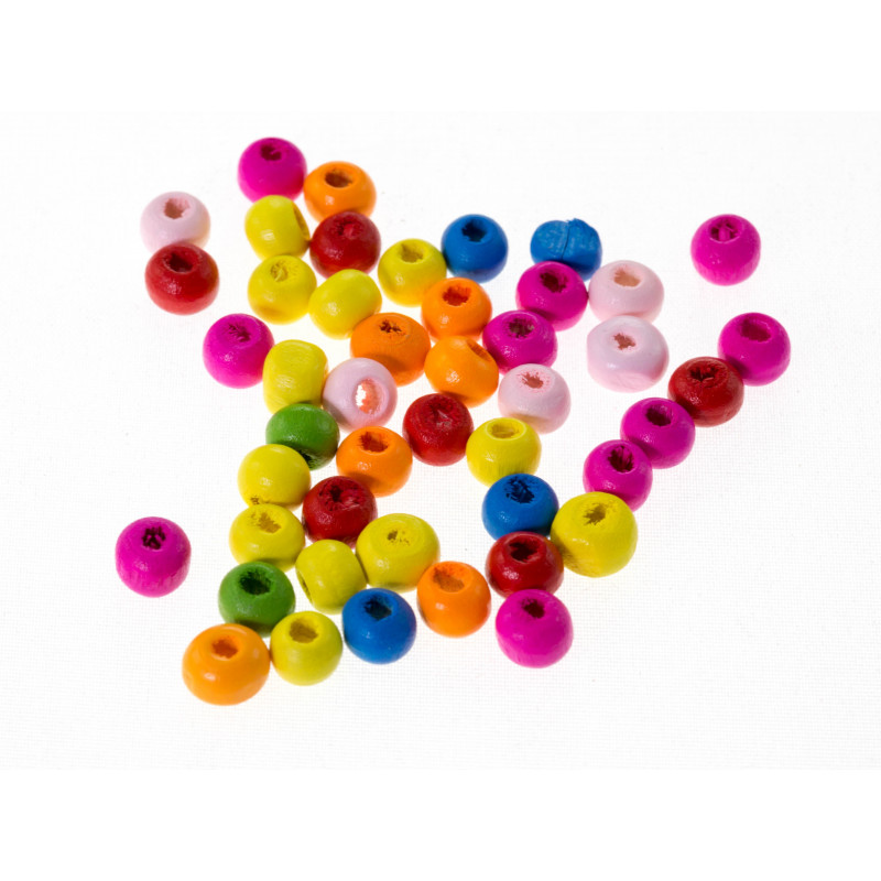 50 Perles en Bois 5mm Couleur Mixte